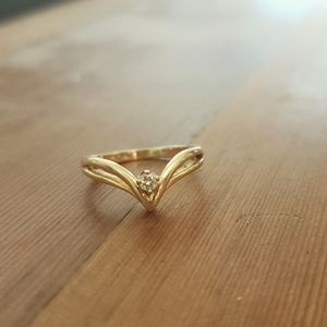 Genuine diamond 14k solid gold ring